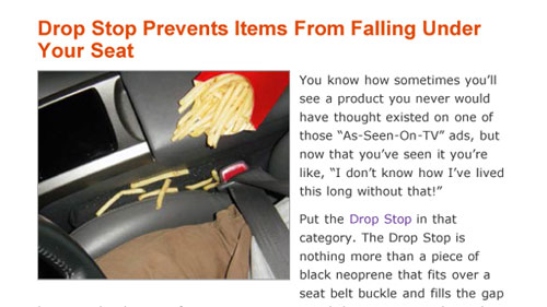 Drop Stop Prevents Items from Falling under your Seat
